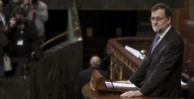 El presidente del Gobierno, Mariano Rajoy, durante su intervención ante el pleno del Congreso donde expone las conclusiones del último Consejo Europeo EFE/Chema Moya